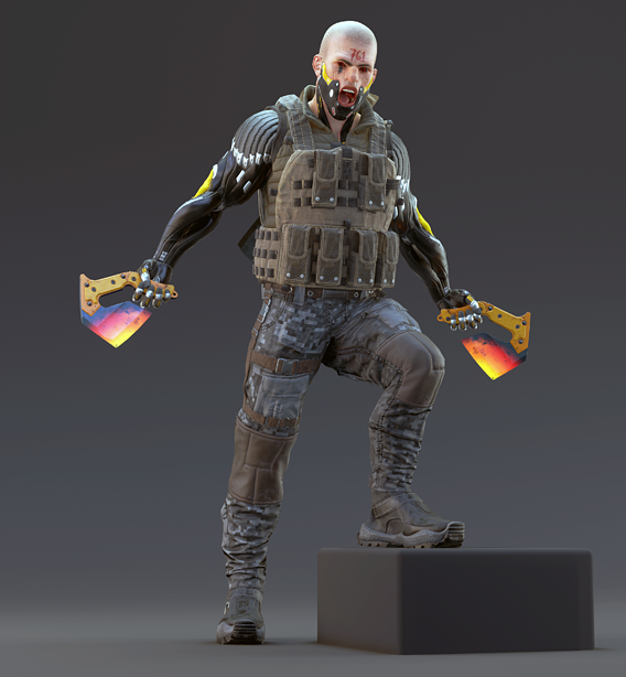 sci-fi soldier low poly