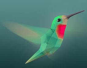 3D asset Rigged Low-Poly Hummingbird