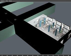 Hospital room scene and corridor 3D