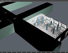 3D Hospital room scene and corridor