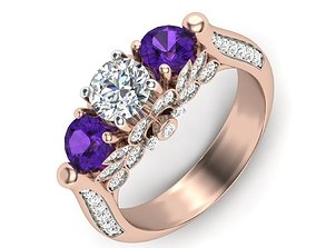 Vintage Engagement Ring 3D print model rings