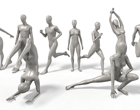 3D model VR / AR ready Faceless Mannequins Gym Poses x9