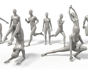 3D model VR / AR ready Faceless Mannequins Gym Poses x9