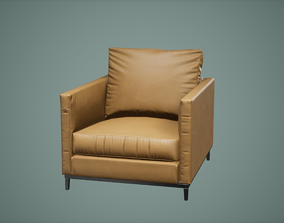 3D asset game-ready westelm Chair Low Poly Game Ready