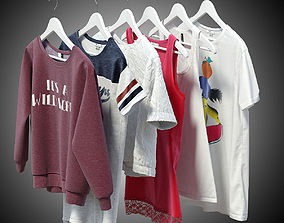 Women clothes of hangers 3D model