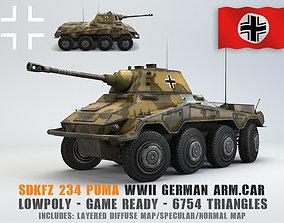 Low Poly SdKfz 234 2 Puma Armored Car 3D asset