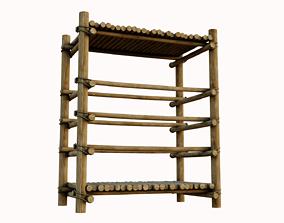 Crude Wooden Shelf 3D model