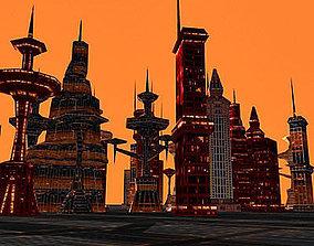 3D model 33 Sci-fi lowpoly skyscrapers