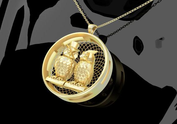 Owl Couple Pendant Jewelry 3D print model