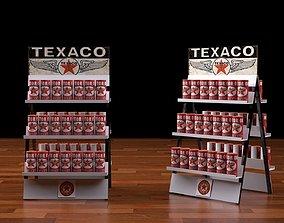gas station rack 1 texaco motor oil 3D model