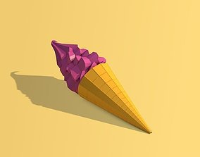 3D asset Cartoon Low Poly Ice Cream