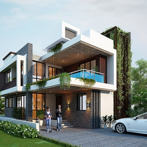Marvelous bungalow rendering by 3d power