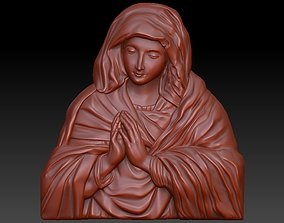 Saint Mary 3D Highly Detailed Bas Relief for 3D Print 1
