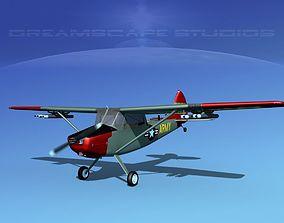 3D model animated Cessna O-1E L-19 US Army 2