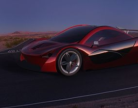 3D Red Maclerean Sports Car