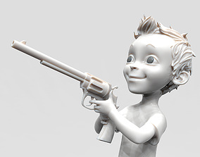 3D model Small boy with gun