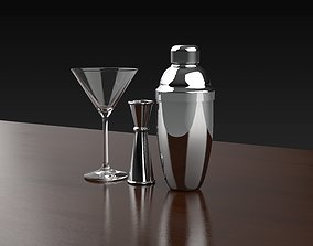 Cocktail glass and shaker 3D