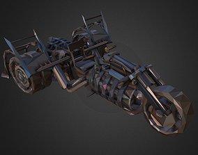 Low Polygon Art Steampunk Treble Bike 3D asset