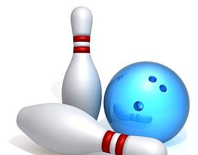 3D model Bowling pins and ball