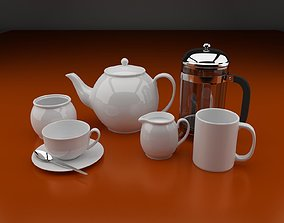 Tea-set include 6 objects 3D model