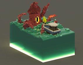 Sea Monster Voxel Scene 3D asset