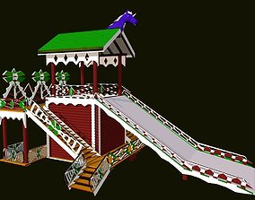 3D model Russian Wooden Winter Slide Attraction