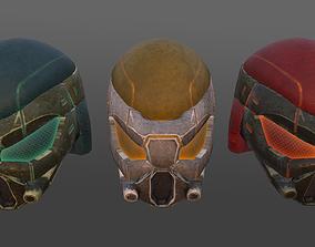 Futuristic helmet 3D asset