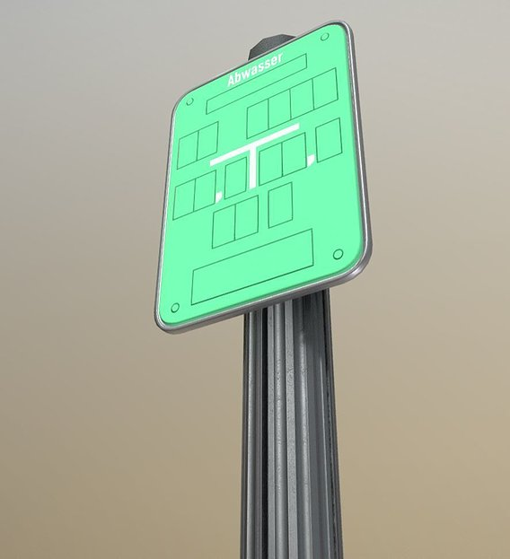 Low-poly sign for waste water with post and frame