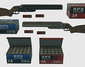 3D asset Low Poly Double Barrel Shotgun With PBR