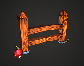 3D asset Wooden fence low-poly