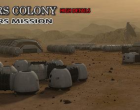 space 3D model Mars City Colony