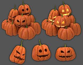 3D model grave Halloween pumpkins