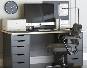 3D model IKEA office workplace with ALEX table and 1