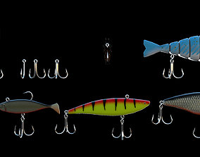 Set of 10 fishing hooks 3D
