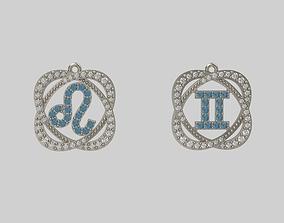 pendants zodiac lion and twins 3D printable model