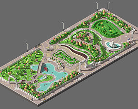 3D asset Low poly big park with pond and labyrinth