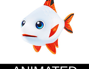 Stripe Tailed Tinfoil Barb Cartoon Style Animated 3D model