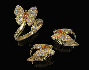 Simple Butterfly Ring and Earrings 3D model