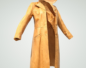 Long Leather Coat 3D model