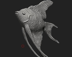 animal 3D model Angelfish sculpt