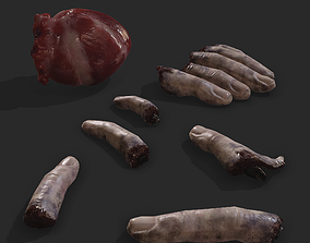 human-heart PBR Severed Fingers and Heart 3D Model Set