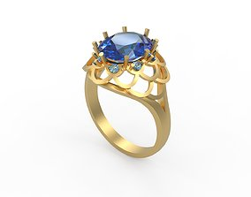 3D print model Woman Solitaire Ring 345