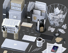Office Supplies Set - Gray 3D