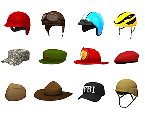 Hats and Helmet Pack 4 3D model