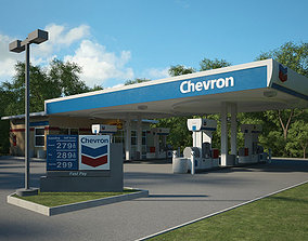Chevron gas station 001 3D