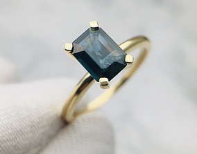 3DM Solitaire rectangle cut ring