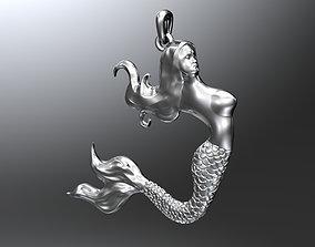 Mermaid pendant 3D printable model gold