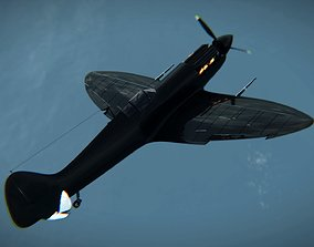 Supermarine Spitfire 3D model animated game-ready