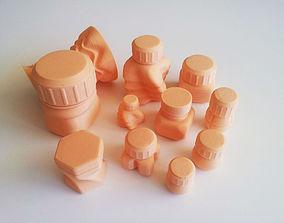 3D print model Bottles and Screw Caps