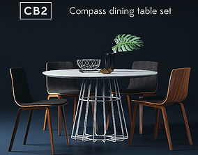 CB2 compass dining table set with Arper Aava chairs 3D